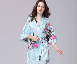 baby blue, bridesmaid robes, and flower image