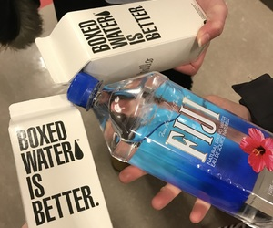 boxed water, bright, and carefree image