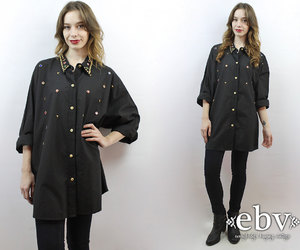 button up shirt, etsy, and oversized top image