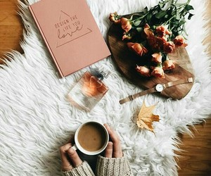 book, coffee, and roses image