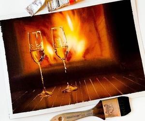 art, flame, and stemware image