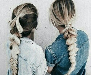blonde, hairstyle, and jeans image
