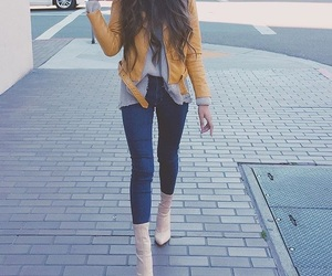 clothes, fashion, and yellow jacket image