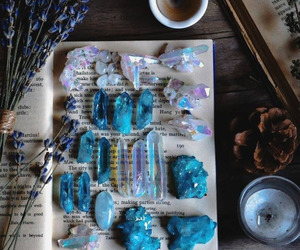 crystal, book, and blue image