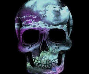 skull, art, and clouds image