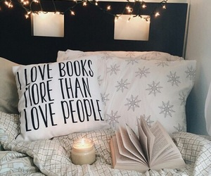 book, light, and bedroom image