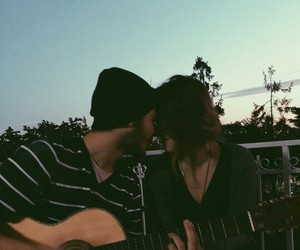 couple, boy, and guitar image
