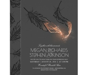 boho, feathers, and invitation image