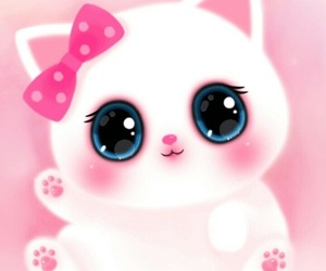 cute, cat, and pink image