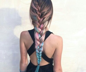 blue, braid, and brown image