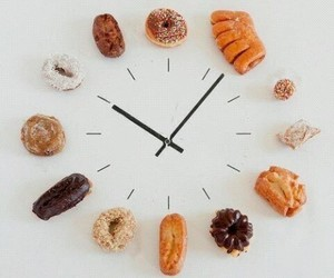 food, clock, and donuts image