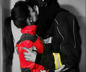 couple, firefighter, and kiss image