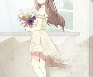 anime girl, art, and flower crown image