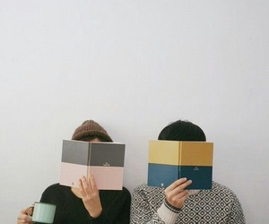 couple, book, and friends image