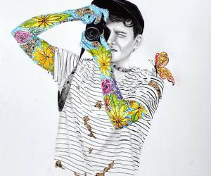 art drawing, colorful tattoos, and camera boy image