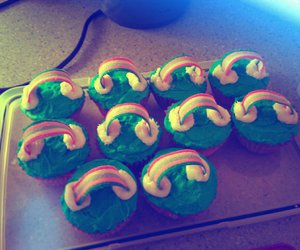 cupcakes, food, and rainbow image