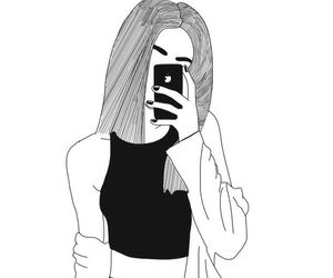 girl, tumblr, and outline image