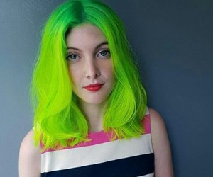 girl, green hair, and neon image