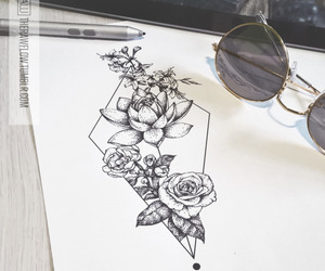 flowers, tattoo, and geometric image