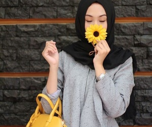 hijab, flowers, and yellow image