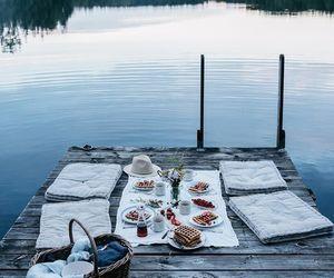 food, romance, and lake image