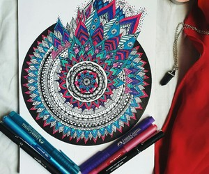 drawing, mandala, and colors image