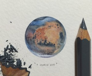 art, drawing, and planet image
