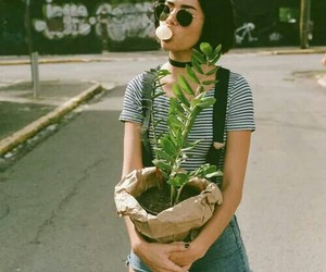 girl, plants, and grunge image