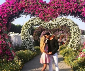 couple, flowers, and kiss image