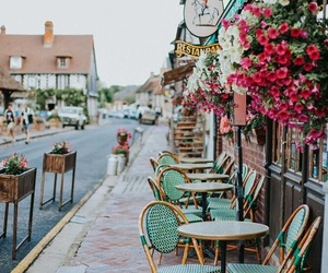 france, cafe, and flowers image