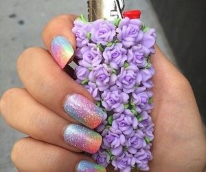 nails, flowers, and lighter image
