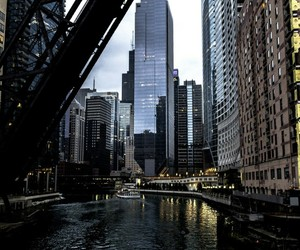 bridge, buildings, and chicago image