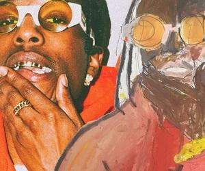 art, brown, and glasses image