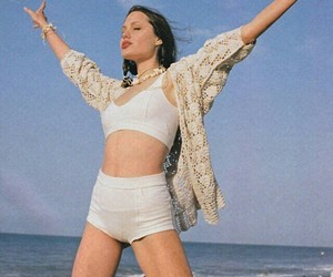 Angelina Jolie, beach, and 90s image