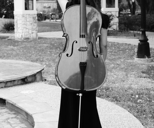 beautiful, black and white, and cello image