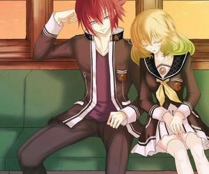 fan art, uniform, and anime couple image