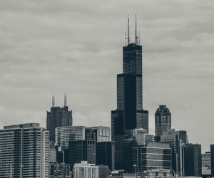black and white, city, and chicago image
