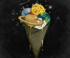 ice cream, planet, and space image