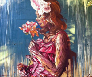 street art, flowers, and pink image