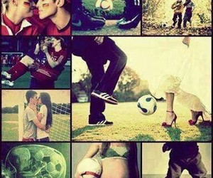 love, soccer, and couple image
