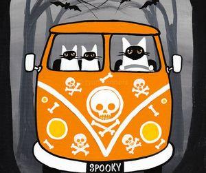 black cat, pumpkin, and skeleton image