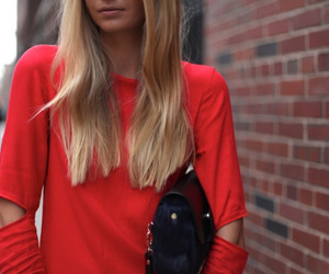 blonde, fashion, and red image