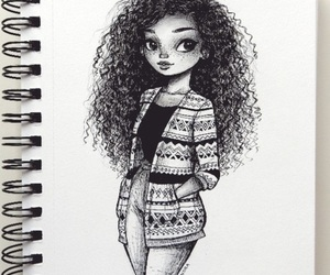 black, draw, and curly hair image