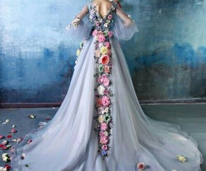 blue, dress, and flower image