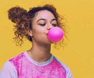 girl, pink, and yellow image