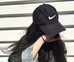girl, nike, and hair image