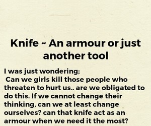 armour, knife, and girls image
