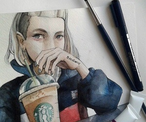 art, girl, and starbucks image