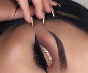 eye liner, eyebrows, and eyes image