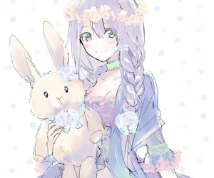 anime girl, art, and bunny image
